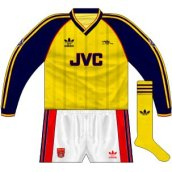1990-91 away strip with home shorts