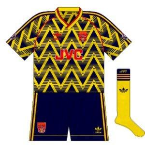 1991-93 Arsenal away strip