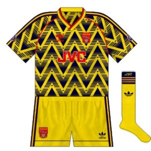 1991-92 Arsenal away strip with yellow alternative shorts