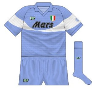 1990-91 Napoli alternative home (blue shorts)
