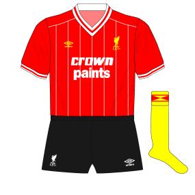1982-1983-Liverpool-alternative-home-kit-black-shorts-yellow-socks-Watford