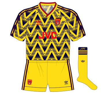adidas-Arsenal-1991-1992-away-shirt-kit-bruised-banana-alternative-yellow-shorts-Wright-hat-trick-Southampton