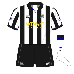Newcastle-United-1993-1995-asics-home-kit-shirt-McEwans-Lager-yellow-white-socks