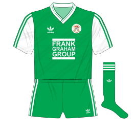 Hibernian-adidas-1987-1989-home-kit-shirt-Frank-Graham-Group-green-shorts-Celtic-change-half-time