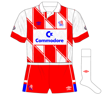 Chelsea-Umbro-1990-1992-away-jersey-shirt-Commodore-diamonds-red-shorts-Man-City