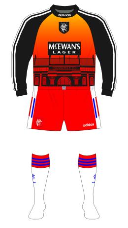 Rangers-1996-1997-adidas-goalkeeper-shirt-Ibrox-Dibble-red-shorts-white-socks-01